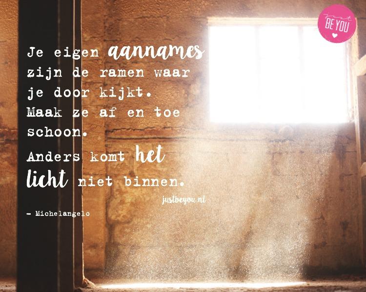 Je eigen aannames zijn de ramen waar je door kijkt. Maak ze af en toe schoon. Anders komt het licht niet binnen.