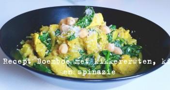 Recept Boemboe met kikkererwten, kip en spinazie