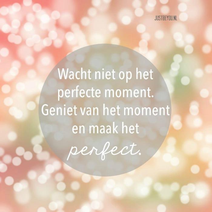 wacht niet op het perfecte moment